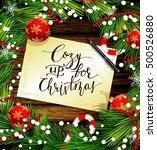 christmas design on wood   Shutterstock .eps vector #500526880
