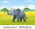 Cartoon Funny Elephant In The...