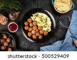 meatballs and mashed potatoes | Shutterstock . vector #500529409