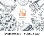 fast food top view frame. fast... | Shutterstock .eps vector #500535130