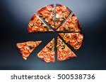 cut of slice pizza with... | Shutterstock . vector #500538736