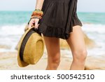 sexy lady in sunglasses and... | Shutterstock . vector #500542510