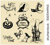 halloween vector collection... | Shutterstock .eps vector #500544943