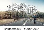 back view of engineer woman in... | Shutterstock . vector #500549014