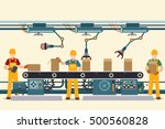 production conveyor belt with... | Shutterstock .eps vector #500560828