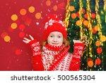 surprised little girl near... | Shutterstock . vector #500565304