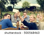 group of people celebrating... | Shutterstock . vector #500568463