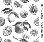 seamless pattern with lemons ... | Shutterstock . vector #500571028