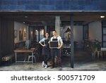 couple barista coffee shop... | Shutterstock . vector #500571709