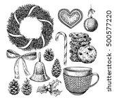 christmas object set. hand... | Shutterstock .eps vector #500577220
