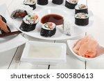 maki uramaki and onigiri sushi... | Shutterstock . vector #500580613