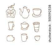 coffee icon handrawn style ... | Shutterstock .eps vector #500592538