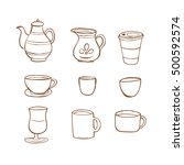coffee icon handrawn style ... | Shutterstock .eps vector #500592574
