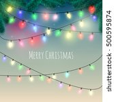colorful christmas lights... | Shutterstock .eps vector #500595874