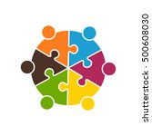 teamwork people in six puzzle... | Shutterstock .eps vector #500608030