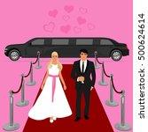 wedding  bride and groom ... | Shutterstock . vector #500624614