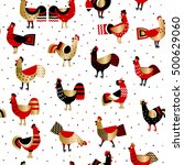 cartoon ornamented roosters on... | Shutterstock .eps vector #500629060