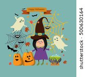 halloween  with witch girl and... | Shutterstock .eps vector #500630164