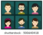 human faces collection various... | Shutterstock .eps vector #500640418