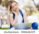 woman working outdoors in a... | Shutterstock . vector #500646229