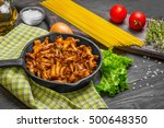 raw not cooked pasta spaghetti... | Shutterstock . vector #500648350