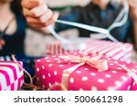 close up of pink gift box.... | Shutterstock . vector #500661298