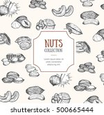 nuts package design hand draw... | Shutterstock .eps vector #500665444