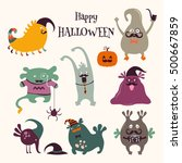 cute monsters set. funny... | Shutterstock .eps vector #500667859