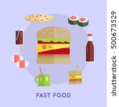 fast food vector concept in... | Shutterstock .eps vector #500673529