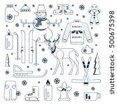set of unique winter icons...   Shutterstock .eps vector #500675398