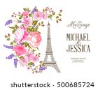 eiffel tower icon with spring... | Shutterstock .eps vector #500685724