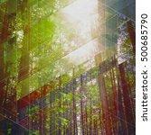 fairy tale forest in retro... | Shutterstock . vector #500685790