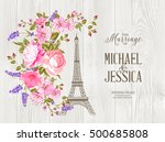 eiffel tower icon with spring... | Shutterstock .eps vector #500685808