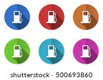 petrol station vector flat icons | Shutterstock .eps vector #500693860