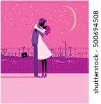 couple kissing under moon.... | Shutterstock .eps vector #500694508