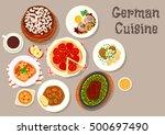 german cuisine sausage soup... | Shutterstock .eps vector #500697490