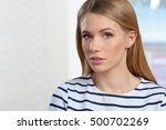 young girl thinks | Shutterstock . vector #500702269
