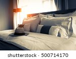 bed maid up with clean white... | Shutterstock . vector #500714170