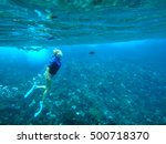 person snorkeling in molokini... | Shutterstock . vector #500718370
