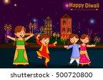 kids enjoying firecracker... | Shutterstock .eps vector #500720800