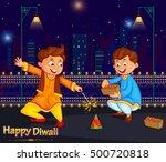 kids enjoying firecracker... | Shutterstock .eps vector #500720818