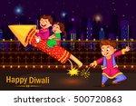 kids enjoying firecracker... | Shutterstock .eps vector #500720863