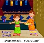 kids celebrating diwali and... | Shutterstock .eps vector #500720884