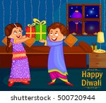 kids with gifts celebrating... | Shutterstock .eps vector #500720944
