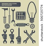 engineer tools icon set clean...