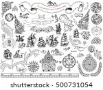 graphic set with hand drawn... | Shutterstock .eps vector #500731054