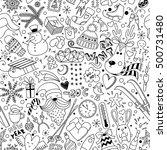 cartoon hand drawn seamless... | Shutterstock .eps vector #500731480