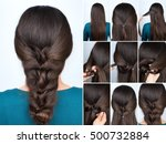 simple hairstyle twisted plait... | Shutterstock . vector #500732884