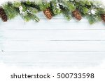 christmas wooden background... | Shutterstock . vector #500733598