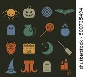 halloween colorful flat icons... | Shutterstock . vector #500735494